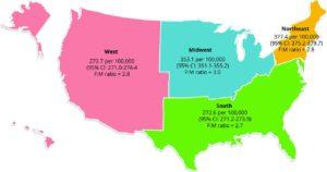 Número de afectados de EM en Estados Unidos, dividido en 4 regiones.
